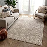 Well Woven Malaga Lyre Tribal Mosaic Tile-Work Beige Distressed High-Low 5'3' x 7'3' Area Rug