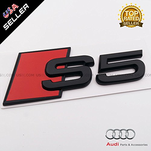 US85 OEM Size ABS Nameplate For Audi S5 Matte Black Emblem 3D Trunk Logo Badge Decoration
