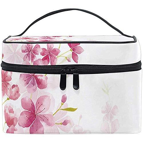 Grand Voyage Maquillage Train Case Cerisiers En Fleurs Rose Aquarelle Transportant Portable Zip Cosmétique Brosse Sac Maquillage Sac Organisateur