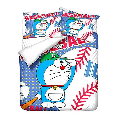 Doraemon 3D Juego de ropa de cama de microfibra anime, funda nórdica para niños y niñas, ropa de cama con funda de almohada (A-03, 150 x 200 cm (50 x 75 cm)