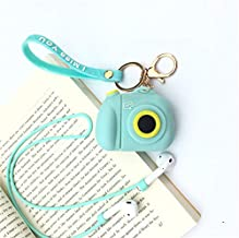 JCMY AirPods Case Cover, Casual AirPods Accessories Series, Cute Kawaii Cartoon Design, Silicone Protective Cover Skin with Keychain and Strap for Girls Teens Women(Camera Green)