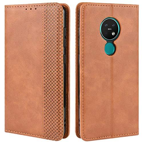 HualuBro Handyhülle für Nokia 7.2 Hülle, Nokia 6.2 Hülle, Retro Leder Stoßfest Klapphülle Schutzhülle Handytasche LederHülle Flip Hülle Cover für Nokia 7.2 / Nokia 6.2 Tasche, Braun