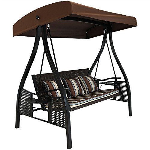 Sunnydaze 3-Seat Deluxe Outdoor Patio Swing with Heavy Duty Steel Frame and Canopy, Brown Stripe Cushions, 600-Pound Weight Capacity