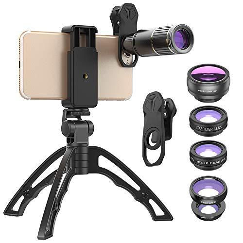 BESTSUGER Kit de Lente de la cámara del teléfono, 16X teleobjetivo Ojo de pez Gran Angular Macro Starlight polarizado Six-in-One Traje, Lente móvil Universal de Metal Externo