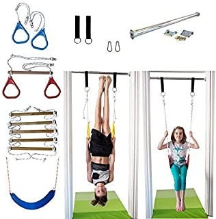 DreamGYM Indoor Swing and Play Set Trapeze Bar Combo, Gymnastic Rings, Rope Ladder & Belt Swing