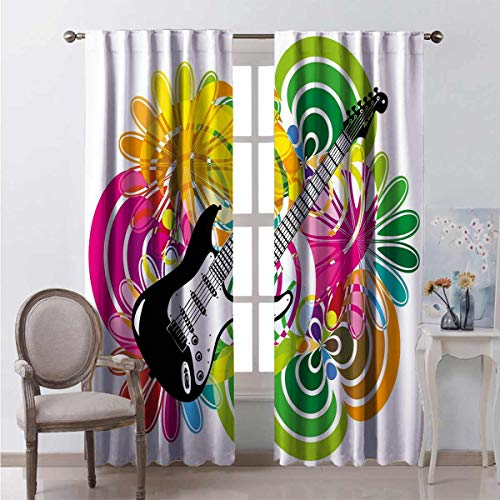 Toopeek Popstar Party Heat Insulation Curtain Hawaiian Abstract Composition with Colorful Leaves and Guitar Instrument for Living Room or Bedroom W84 x L84 Inch Multicolor