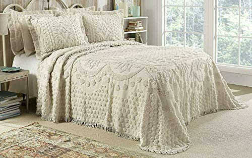 Style Master Kingston Tufted Floral Chenille Bedspread and Pillow SHAM Set, All Cotton (Beige, King)