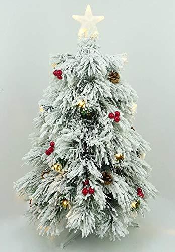 Powzz ornament 3ft (90cm) Vorbeleuchteter schneebedeckter faseroptischer Kiefern-Weihnachtsbaum mit Zapfen,roten Beeren und LED-Lichtern