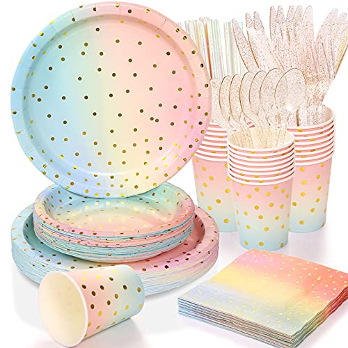 200 Pcs Golden Dot Disposable Paper Party Plates Set, 25Dinner Plates, Dessert Plates, 25Cups, 25Napkins, 25Straws, cutlery,forks, spoons,Dinnerware for Birthday Baby Shower Wedding Rainbow Party