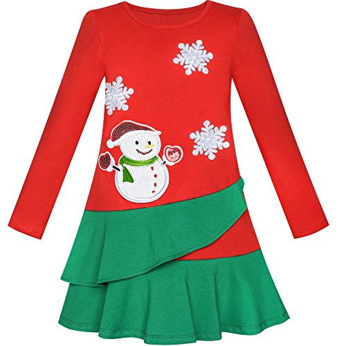 LN26 Girls Dress Long Sleeve Christmas Snowman Holiday Party Size 12 Red