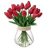 10 tulipani artificiali in vero tatto, fiori finti per composizioni floreali, tulipani artificiali, per bouquet di nozze, casa, giardino, decorazione per feste (rosso)