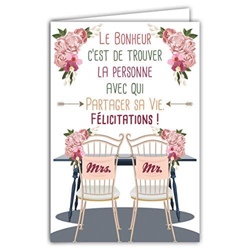 Afie 69-5054 Carte Félicitations Mariage Couple Mr Mrs Mme Le Bonheur c'est de trouver la personne avec qui partager sa vie