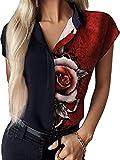 OOGUDE Blusa con cuello en V y botones para mujer, manga corta, para verano, solapa de trabajo, casual, estampado floral, túnica, rosso, M