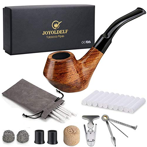 Joyoldelf Creative Wooden Smoking Pipe Set with Gift Box, Rosewood Pipe with Pipe Cleaners and Other Smoking Accessories