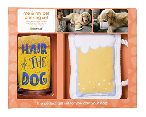 Pearhead Pet Hair of The Dog Beer Glass and Dog Toy Gift Set, Pet Owner Gifts