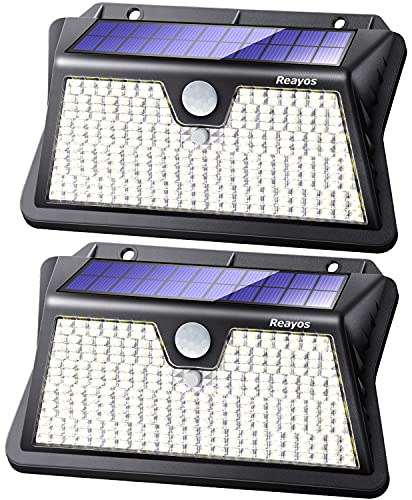 Reayos Solar Lights Outdoor, Upgraded Optics Lens Solar Security Lights, 283LED 3 ModesSolar PIR Motion Sensor Lights, IP65 Waterproof Outside Powered Solar Wall Lights for Door Fence Garden[2 Pack]
