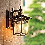 Aplique de exterior antiguo E27 Lámpara de jardín Luz de pared antigua retro con cubierta de lámpara de vidrio Lámpara de exterior Puerta impermeable Balcón Villa Lámpara de exterior-Color antiguo
