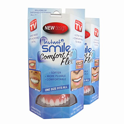 Instant Smile Flex 2pk - BRIGHT WHITE SHADE - One Size Fits Most. Fix Your Smile At Home In Minutes! Comfortable Upper Cosmetic Veneer For A Perfect Smile!