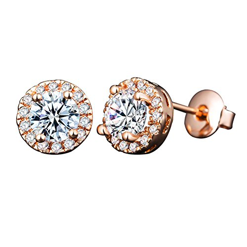 Women's Rose Gold Stud Earring ,Girl's Gift Round White Crytals Earring Stud (Rose Gold)