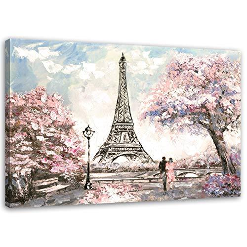 Feeby. PARIS Bild auf Leinwand Größe: 70x50 cm, 1 Teilig Leinwanbild Wandbild Kunstdrucke Wanddeko EIFFEL TOWER FRANKREICH ARCHITEKTUR PINK