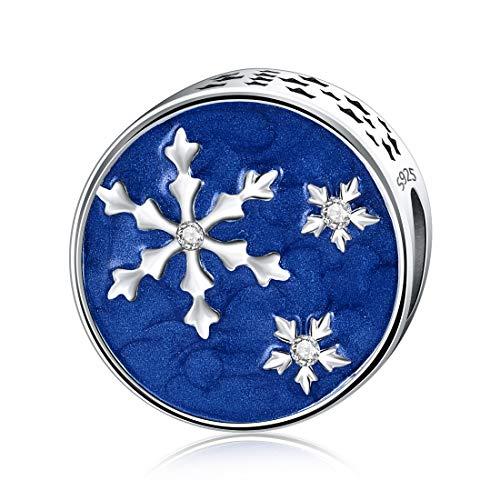 Damen Silber Schneeflocke Charms Blau Emaille Bead Fit Pandora Europäischen Armbänder Halskette