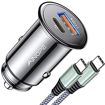 USB C Car Charger Super Mini AINOPE All Metal 42W Fast USB Car Charger PD&QC 3.0 Dual Port Car Adapter Compatible with iPhone 12/12 Pro/Max/12 Mini/iPhone 11/Pro/Max/XR/XS/Max/8, Galaxy S21/20/10/9