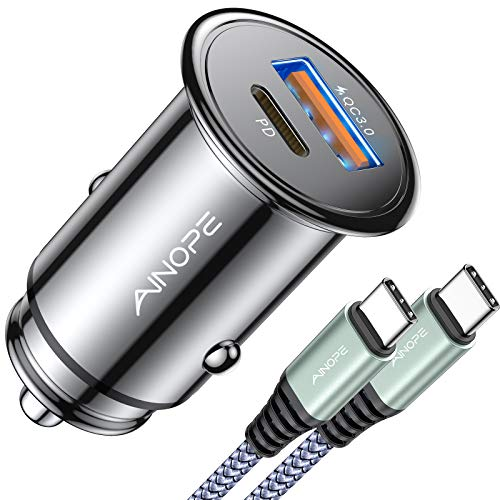 USB C Car Charger Super Mini AINOPE All Metal 36W Fast USB Car Charger PD&QC 3.0 Dual Port Car Adapter Compatible with iPhone 12/12 Pro/Max/12 Mini/iPhone 11/Pro/Max/XR/XS/Max/8/8P, Note 10/S10/S9