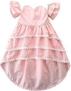 HEETEY Girls Princess Dress  Toddler Kids Baby Girls Lace Off Shoulder Party Wedding Pageant Princess Dresses Baby Girl Tops Clothing Outfit