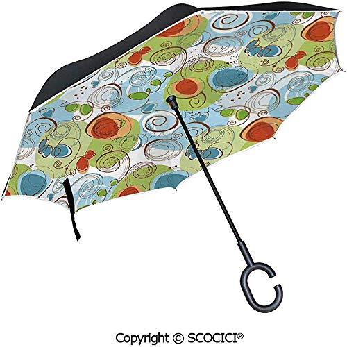 Auto Open Inverted Umbrella Grafik Kunstdruck Einer Meerjungfrau Mädchen auf einem Felsen im Meer Mythische Charakter Regenschirm mit C-förmigen Griff