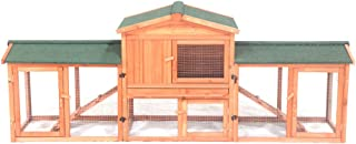 ALEKO DXR054 Fir Wood Chicken Coop Rabbit Hutch with Nesting Box and Covered Chicken Run Backyard Poultry Cage 89 x 24 x 34 Inches