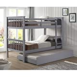 Walker Edison Resende Mission Style Solid Wood Twin over Twin Bunk Bed with Storage Trundle Bed, Twin, Grey