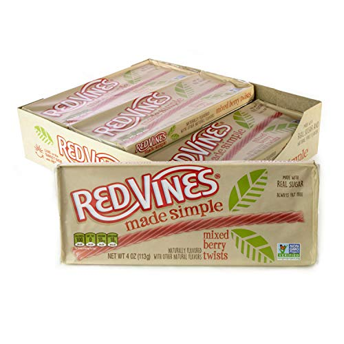 Red Vines Made Simple Licorice Twists, 4oz Tray (9 Pack), Mixed Berry Flavor, Soft & Chewy Candy