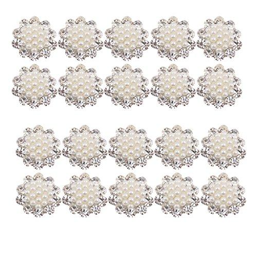 harayaa 20 Broches de Perlas de Diamantes de Cristal Flatback Boda Ramo Decoración Artesanal 20 Mm