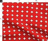 Spoonflower Stoff – hellrotes Schweizer Kreuz plus