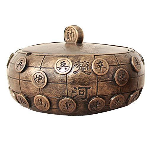 HENGXIAO-ashtray Cenicero-Material De Resina, Cenicero De Ajedrez, Hogar Creativo, Sala De Estar, Oficina, Mesa De Café, Decoración, Cobre Antiguo Moderno