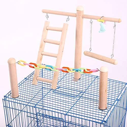 Bird Cage Stand Play Gym, Green Cheek Conure Perch Playground, Wood Parrot Climbing Ladder Chewing Chain Swing for Lovebirds Budgies Finches Parakeets, Activity Center,Birdcage Training Accessories