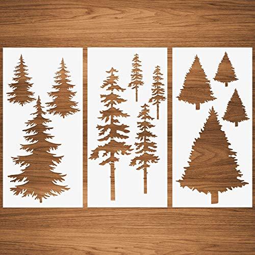 Weihnachtsbaum Schablonen, hohe Tanne Kiefer Kiefer Zypresse Zeder Herbst Wandschablone 3 Packungen für Möbel Leinwand Wohnkultur Handwerk Bäume Wiederverwendbare Mylar Schablonen 15x30cm
