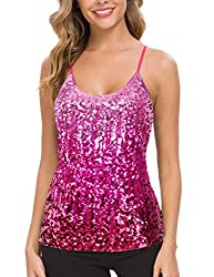 Bright Pink Sequin Party Strappy Tank Top Sparkle Cami