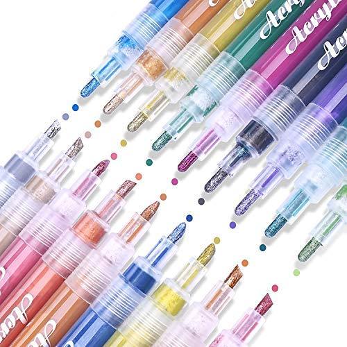 Acrylstifte Marker Stifte,Bemalen Acrylstifte für Steine Permanent Marker Stifte Acrylstifte für Glas Kunststoff Keramik Metall Holz DIY Fotoalbum Gästebuch (18 Farben)