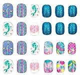 60pcs Cartoon Blue Shiny Kids Fake Nails press on Self-adhesive artificial flake...