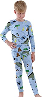 Hopscotch Boys Cotton Dino Print Full Sleeves T-Shirt and Pyjama Set in Blue Color