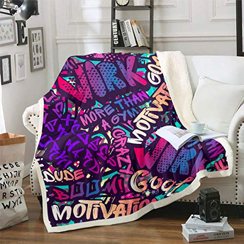 Manta Hippie de Graffiti manta de cama súper suave diseño hip hop manta para cama sofá cama, manta de acuarela moderna ligera manta de viaje para niños niñas King 221 x 241 cm
