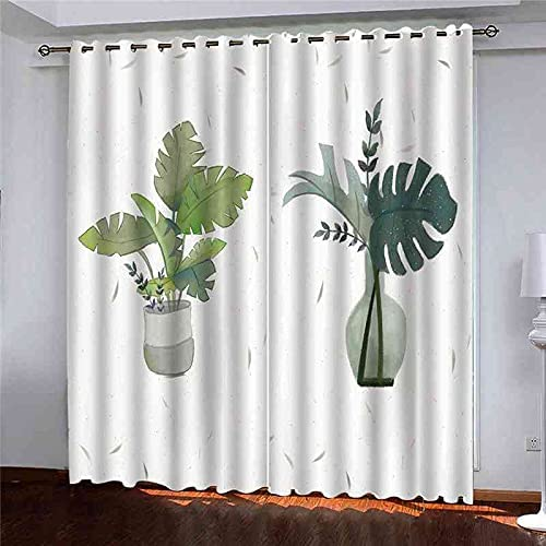 Raleigh Mall GXLOGA Blackout Grommet Curtains for Charlotte Mall Potted Bedroom Plants Green