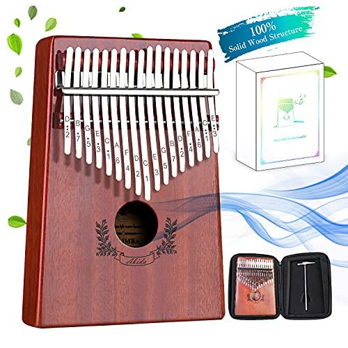 Abida Kalimba 17 Keys Thumb Piano EVA Waterproof Case Study Instruction Tuning Hammer, Solid Finger Piano Mahogany Body Portable Musical...