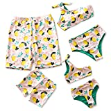 IFFEI Mommy and Me Family Matching Swimsuit One Piece Beach Wear Summer Lemon Sporty Monokini Bathing Suit Girls: 4-5 Years
