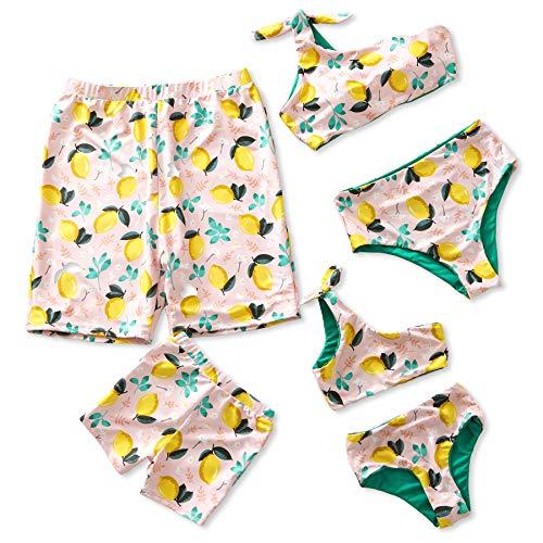 IFFEI Mommy and Me Family Matching Swimsuit One Piece Beach Wear Summer Lemon Sporty Monokini Bathing Suit Women: M