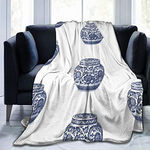 Woidxzxza Indigo Blue White Hamptons Ginger Jar Chinoiserie Vase Art Ultra-Soft Micro Fleece Blanket Flannel Washable Lightweight Warm Plush Throw Blankets 60x50 in