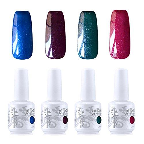 Vishine Vernis à ongles Gel Semi-permanent Soak Off UV LED Gelpolish Manucure Kit Lot de 4 Couleurs C256