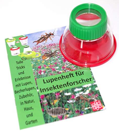 MEDUP Bunte Becherlupe grün-rot Lupendose 6X Vergrößerung mit Lupenheft für Entdecker