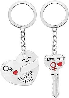 """1 par de llaveros románticos, de BIGBOBA, con forma de corazón y texto en inglés """"I Love You"""""""